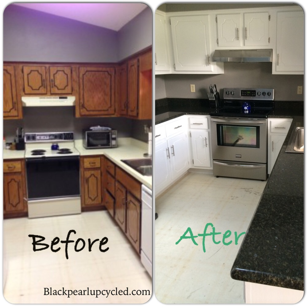 Diy painted kitchen cabinets black pearl upcycled for Kitchen kitchen cabinets